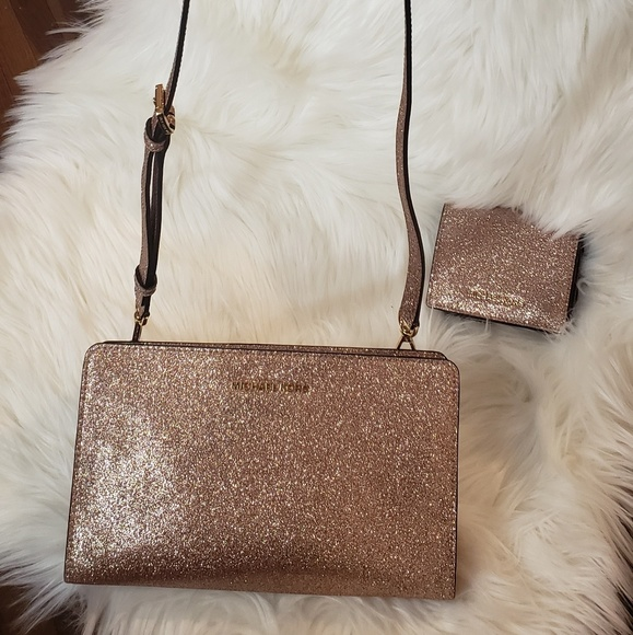 7d8d6370ec78 Michael Kors Bags | Rose Gold Glitter Bag Wallet | Poshmark
